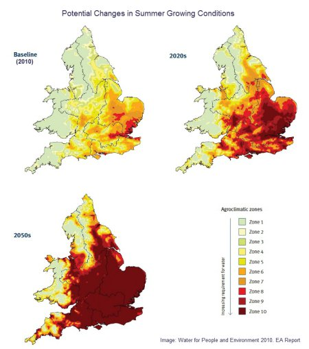 Potential Changes in Summer Growing Conditions. Image: EA Water for People and the Environment Report.