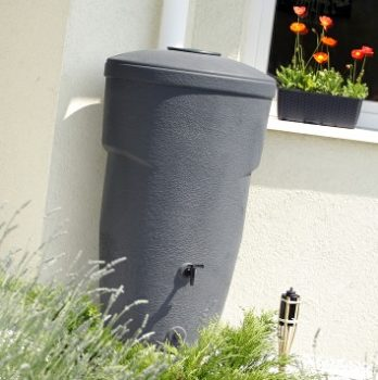 HandyCan Space Saving Water butt in Slate Grey.