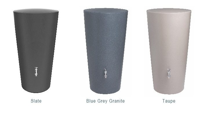 RainBowl Water Butt Three Colour Finishes: Slate, Blue Grey Granite and Taupe