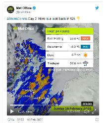 Met Office image showing rainfall of 62mm in 24 hours in Tredegar in South Wales (Storm Dennis)